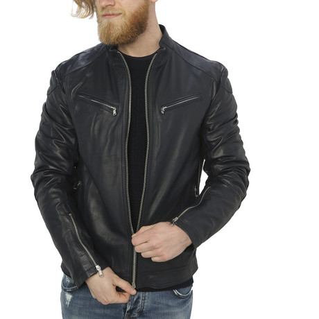 Kendall Leather Jacket // Blue (XL)