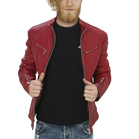 Kendall Leather Jacket // Red (S)
