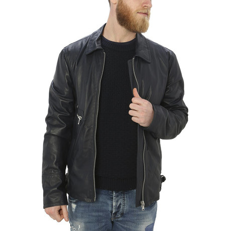 Pax Leather Jacket // Blue (S)