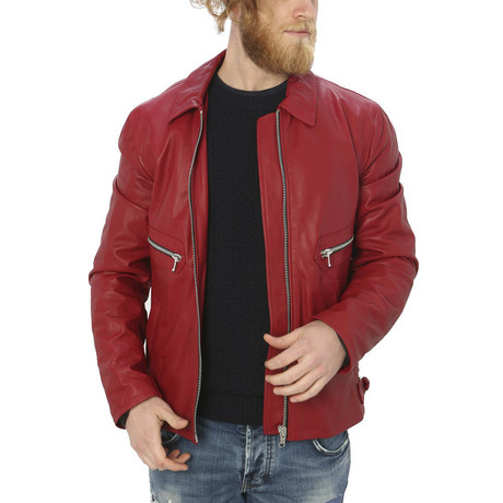 Pax Leather Jacket // Red