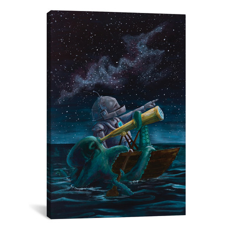 "Star Bot // Robots in Rowboats (18""W x 26""H x 0.75""D)"