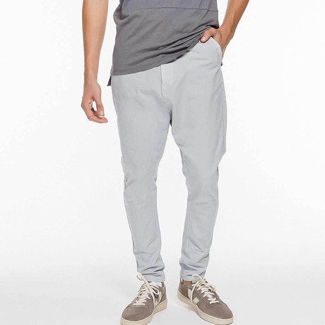 Tapered Cotton Blend Chino Pants // Ice Grey