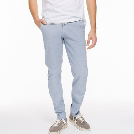 Regular Fit Cotton Blend Garment Washed Chino Pants // Ice Grey