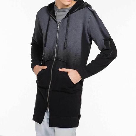 Coated Longline Hooded Cardigan // Black