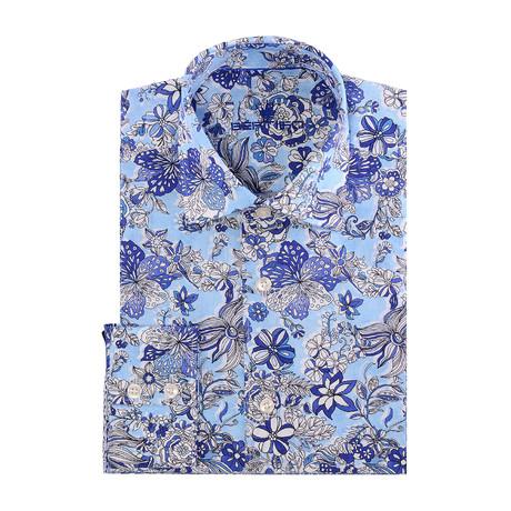 Boyce Button-Up // Blue + White flowers // Blue (2XL)