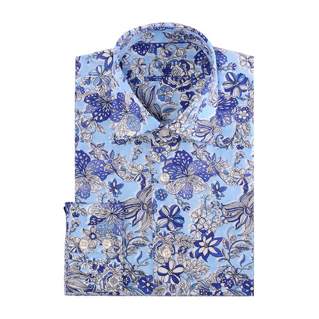 Boyce Button-Up // Blue + White flowers // Blue (2XL)