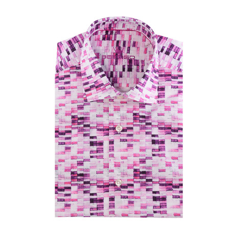 Conrad Button-Up Short Sleeve // Abstract Print // Pink (2XL)