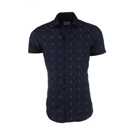 Christian Short-Sleeve Button-Up Shirt // Blue (XS)