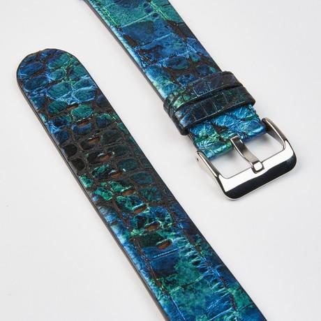Genuine Alligator Apple Watch Strap // Shiny Blue Green