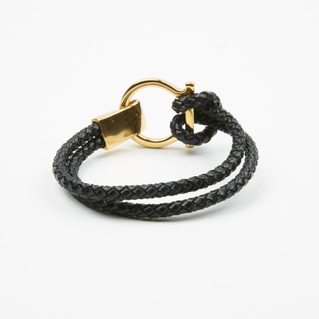 Double Wrap Leather Bracelet + Gold Plated Clamp // Black