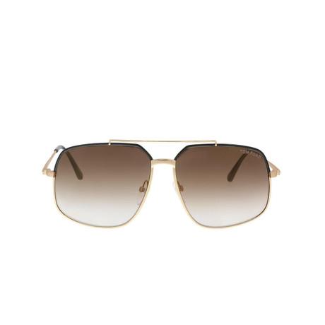 Men's Ronnie Sunglasses // Black + Brown Gradient