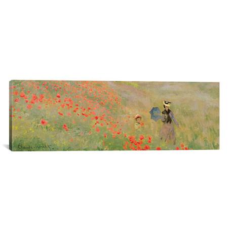 """Wild Poppies, Near Argenteuil, 1873 // Claude Monet (36""""W x 12""""H x 0.75""""D)"""