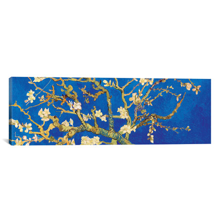 "Almond Blossom On Royal Blue // Vincent van Gogh (60""W x 20""H x 0.75""D)"