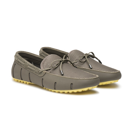 Lace Lux Loafer Driver // Khaki + Faded Lemon