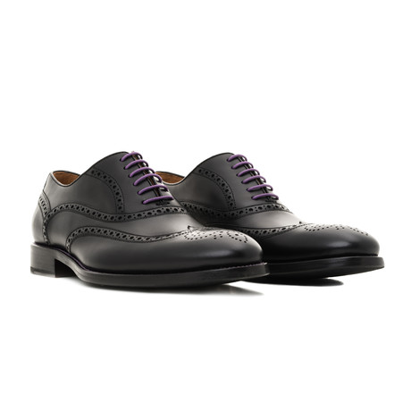 Calf Leather Oxfords // Black + Purple