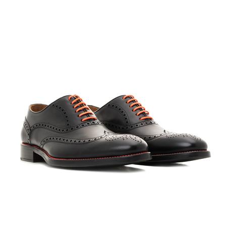 Calf Leather Oxfords // Black + Orange