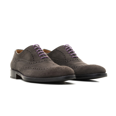 Suede Oxford // Grey + Purple