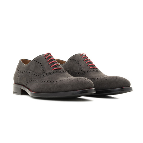 Suede Oxford // Grey + Red