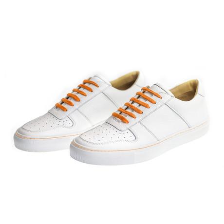 Sneaker Smooth Leather // White + Orange (Euro: 39)