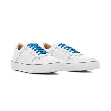 Sneaker Smooth Leather // White + Blue Green