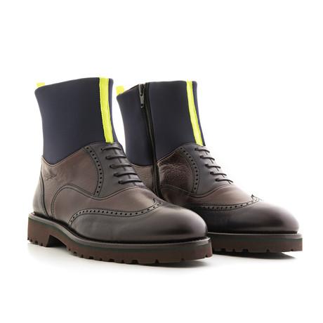 Neoprene Boot Smooth Leather + Neoprene Shaft // Blue + Yellow (Euro: 39)