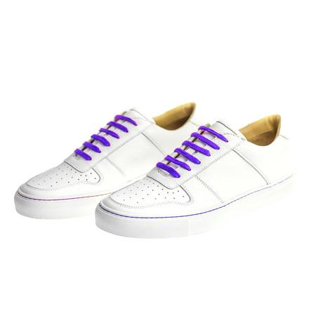 Sneaker Smooth Leather // White + Purple (Euro: 39)