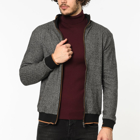 Zip Up Sweater // Patterned Gray (M)