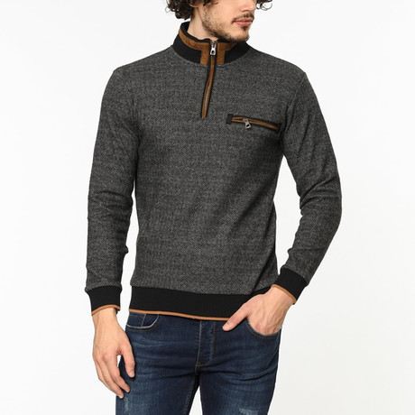 Quarter Zip Sweater // Patterned Anthracite (M)