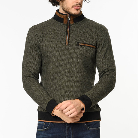 Quarter Zip Sweater // Green (M)