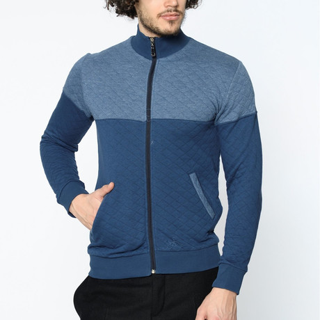 Blocked Zip-Up Sweater // Blue (M)