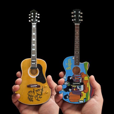 The Beatles // John Lennon + Yellow Submarine Mini Acoustic Guitar Replicas // Set of 2