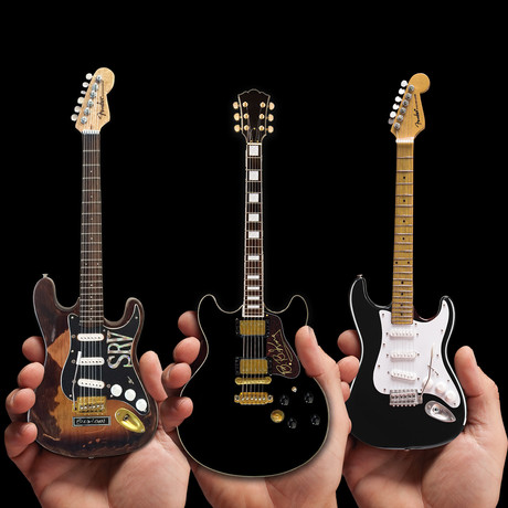 Blues Gods // BB King + Stevie Ray Vaughan + Eric Clapton Miniature Guitar Replicas // Set of 3