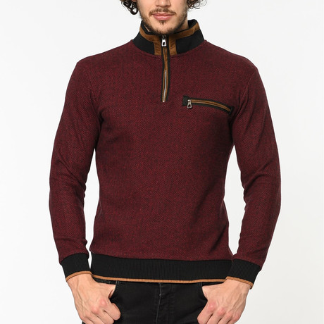 Quarter Zip Sweater // Burgundy (M)