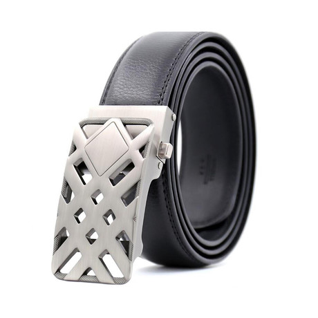 Kolton Automatic Adjustable Belt // Black + Silver Buckle