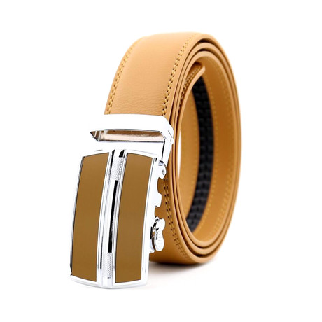 Keith Automatic Adjustable Belt // Tan + Tan + Silver Buckle