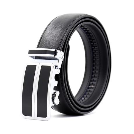 Philip Automatic Adjustable Belt // Black + Siler + Black Buckle
