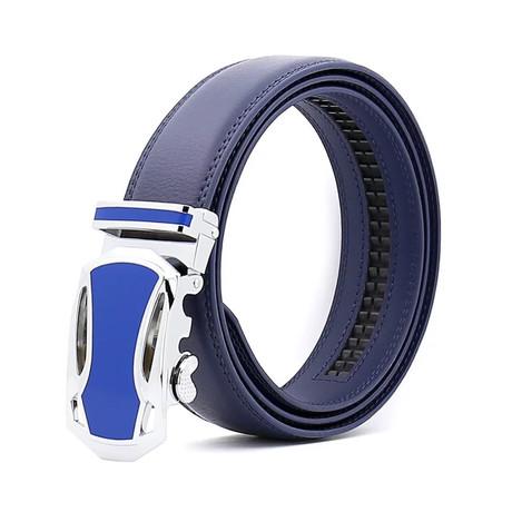Kayson Automatic Adjustable Belt // Blue + Blue + Silver Buckle