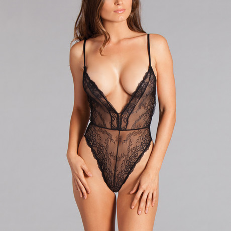 Scarlette Plunging Teddy // Black (Small)