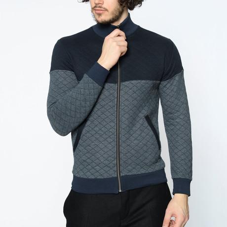 Blocked Zip-Up Sweater // Anthracite (M)