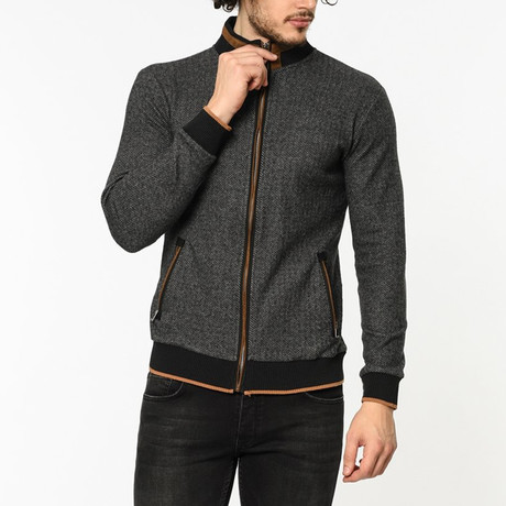 Zip-Up Sweater // Patterned Anthracite (M)