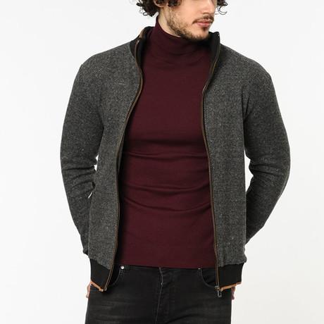 Zip-Up Sweater // Dark Grey + Orange (M)