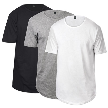 CB Tall Scallop Button Tee // Black + Heather Gray + White // 3-Pack