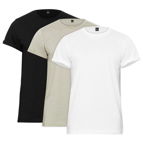 Rolled Cuff Jersey Tee // Black + White + Heather Gray // 3-Pack