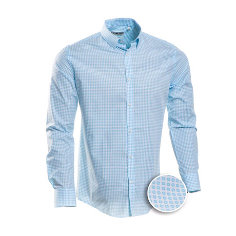 Checkered Slim Fit Dress Shirt // Oxford Blue