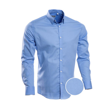 Solid Slim Fit Dress Shirt // Blue