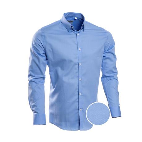 Solid Slim Fit Dress Shirt // Blue (S)