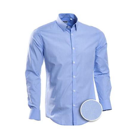 Checkered Slim Fit Dress Shirt // Blue