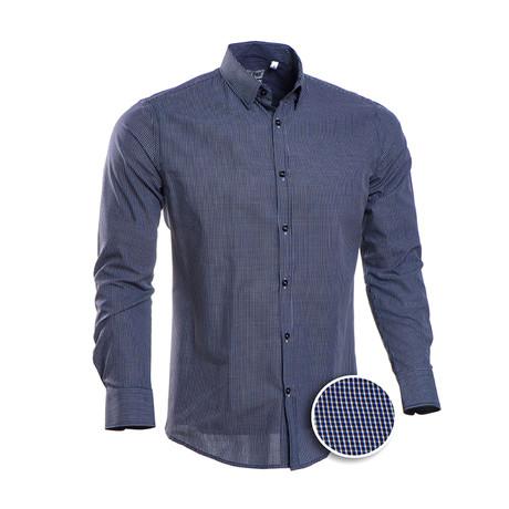 Ortiz Checkered Slim Fit Dress Shirt // Navy (S)