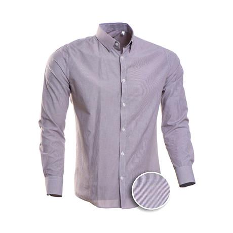 Hairline Stripe Slim Fit Dress Shirt // Maroon + Gray (S)