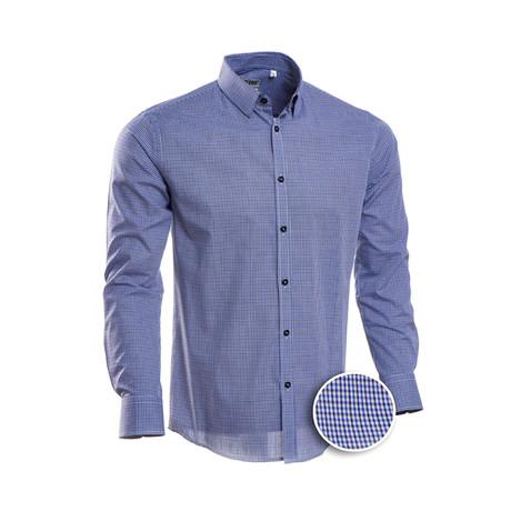 Checkered Slim Fit Dress Shirt // Navy